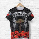 Anzac Day Lest We Forget Poppy T Shirt New Zealand Maori Vibes - Black K8