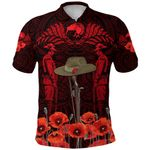 Anzac Day Lest We Forget Poppy Polo Shirt New Zealand Maori Vibes - Red K8