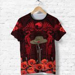 Anzac Day Lest We Forget Poppy T Shirt New Zealand Maori Vibes - Red K8