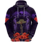 Anzac Day Lest We Forget Poppy Hoodie New Zealand Maori Vibes - Purple K8