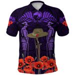 Anzac Day Lest We Forget Poppy Polo Shirt New Zealand Maori Vibes - Purple K8