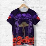 Anzac Day Lest We Forget Poppy T Shirt New Zealand Maori Vibes - Purple K8