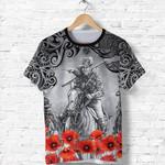 Anzac Day Lest We Forget Poppy T Shirt New Zealand Maori Horse Riding K8