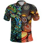 New Zealand Maori And Australia Aboriginal Rugby Polo Shirt We Are Family - Paua Shell