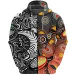 New Zealand Maori And Australia Aboriginal Rugby Zip Hoodie We Are Family - Black
