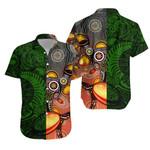 New Zealand Maori And Australia Aboriginal Rugby Hawaiian Shirt We Are Family - Green