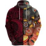 New Zealand Maori And Australia Aboriginal Rugby Zip Hoodie We Are Family - Red