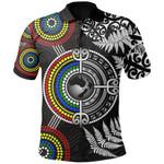 Aotearoa and Australia Polo Shirt Fern Maori vs Aboriginal TH6