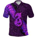 Aotearoa Maori Polo Shirt Silver Fern Manaia Vibes - Purple K36