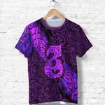 Aotearoa Maori T Shirt Silver Fern Manaia Vibes - Purple K36