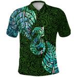 Aotearoa Maori Polo Shirt Silver Fern Manaia Vibes - Green K36