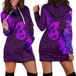 Aotearoa Maori Women Hoodie Dress Silver Fern Manaia Vibes - Purple