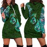 Aotearoa Maori Women Hoodie Dress Silver Fern Manaia Vibes - Green