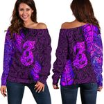 Aotearoa Maori Women Off Shoulder Sweater Silver Fern Manaia Vibes - Purple