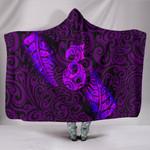Aotearoa Maori Hooded Blanket Silver Fern Manaia Vibes - Purple