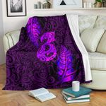 Aotearoa Maori Premium Blanket Silver Fern Manaia Vibes - Purple