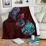 Aotearoa Maori Premium Blanket Silver Fern Manaia Vibes - Red