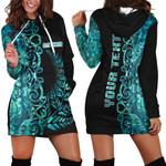 (Custom Personalised)Aotearoa Fern Hoodie Dress Half Papua Shell Style