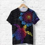 Aotearoa Maori T Shirt Turtle And Polynesian Tattoo - Black K36