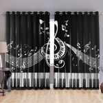 Cat and Piano music window curtain and shower curtain 98 L1PTT