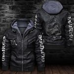 LIMITED EDITION-HOODED LEATHER JACKET FOR LOVERS-6489TR