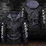 LIMITED EDITION-HOODED LEATHER JACKET FOR LOVERS-6487TR