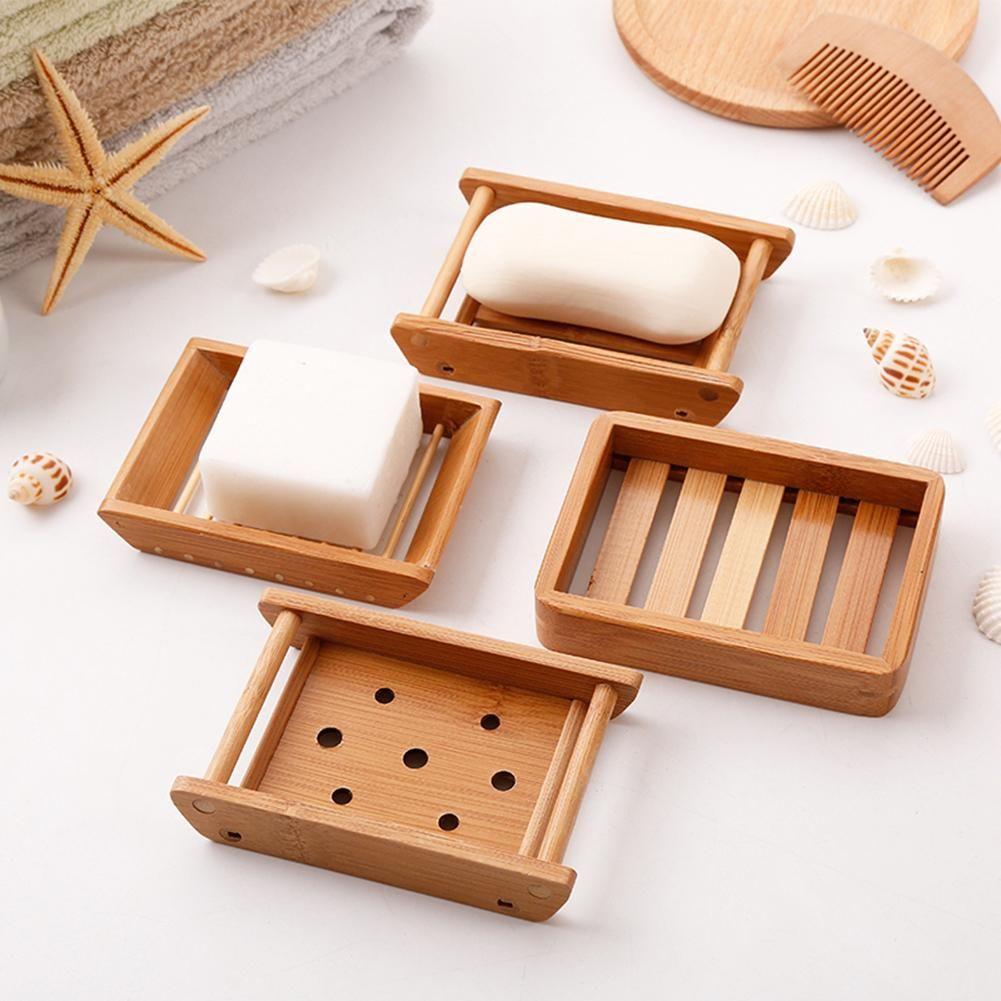 Bamboo Soap Dishes Creative  Manual Drain  Soap Box  Wooden Soap Holder NJKIUH
