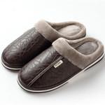 ASIFN Men Slippers Indoor Leather Winter Waterproof Warm Home Fur Women Slipper Male Couple Platform Shoes Fluffy Big Sizes