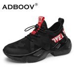 ADBOOV New Trendy Sneakers Men Lycra Upper Breathable Chunky Shoes Anti-Slip Vulcanized Shoes Zapatillas Hombre Black White
