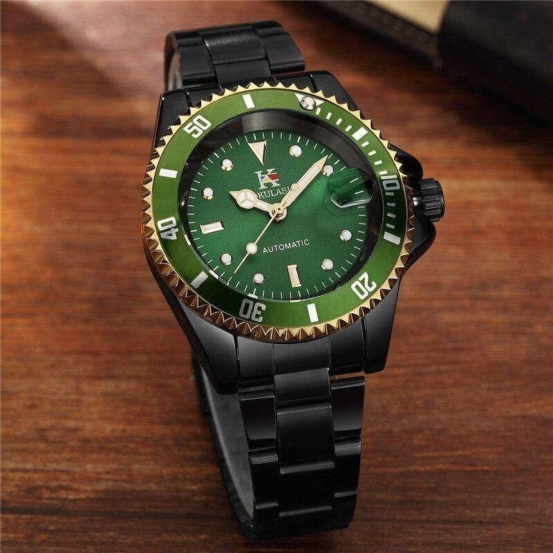 AOKULASIC Men Watch Waterproof Automatic Mechanical Male Clock Top Brand Luxury Stainless Steel Sport Military Wristwatch 003