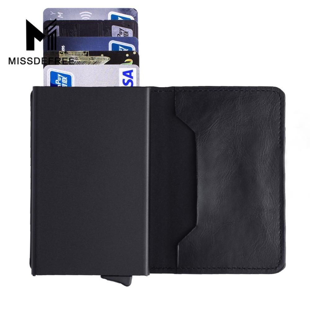 Aluminum Slim Wallet PU Leather Holder RFID Blocking Mini Metal Wallet Automatic Pop up ID Credit Card Coin Purse Drop Shipping