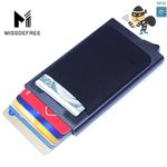 Aluminum Wallet With Back Pocket ID Card Holder Rfid Blocking Mini Slim Metal Wallet Automatic Pop up Credit Card Case Protector