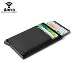 Aluminum Wallet With Elastic Lycra Back Pocket RFID Blocking Mini Metal Credit Card Holder Automatic Pop up Card Case Coin Purse