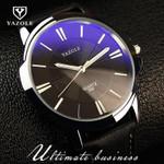 100% Original YAZOLE Luxury Blue Ray Shockproof Genuine Leather Round Dial Dress Quartz Wristwatch Watch for Men Male No.332