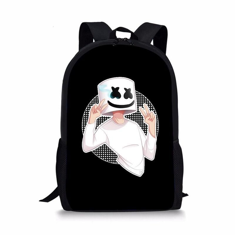 3D Marshmello Backpack Female School Supplies Satchel Casual Book Bag School Bag for Kids Boy Girls Backpack Helmet Junior Bag