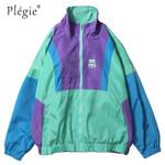 Autumn Hip Hop Windbreaker Jacket Oversized Mens Harajuku Color Block Jacket Coat Vintage Zip Track Jacket Streetwear ветровка