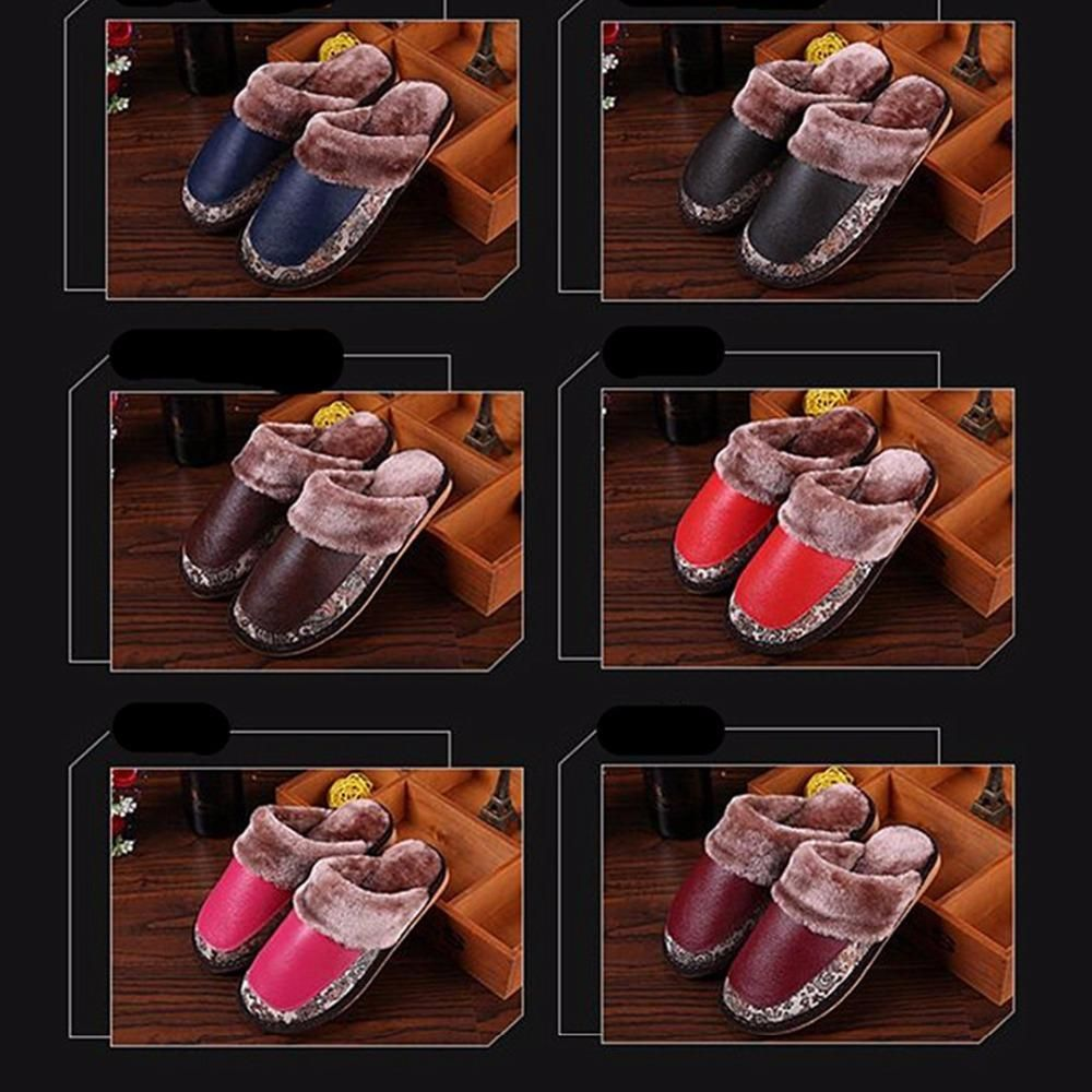 AoXunLong New Men's Slippers Winter Warm Home Slippers Unisex Leather Plush Indoor Slippers Size 35-44 Pantufa Pantoffels Dames