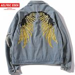 Aelfric Eden Spring Hip Hop Jeans Coats Men Gold Wing Embroidery Jacket Denim Ripped Hole Denim Jackets Streetwear OF064