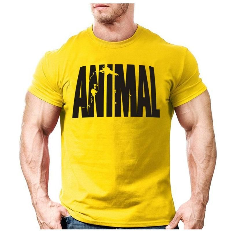 Animal print fitness cotton bodybuilding t shirt
