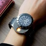 2 In 1 Rechargeable USB Watch Lighter Electronic Cigarette Lighter USB Charge Flameless Cigar Wrist Watches Lighter for Man 49