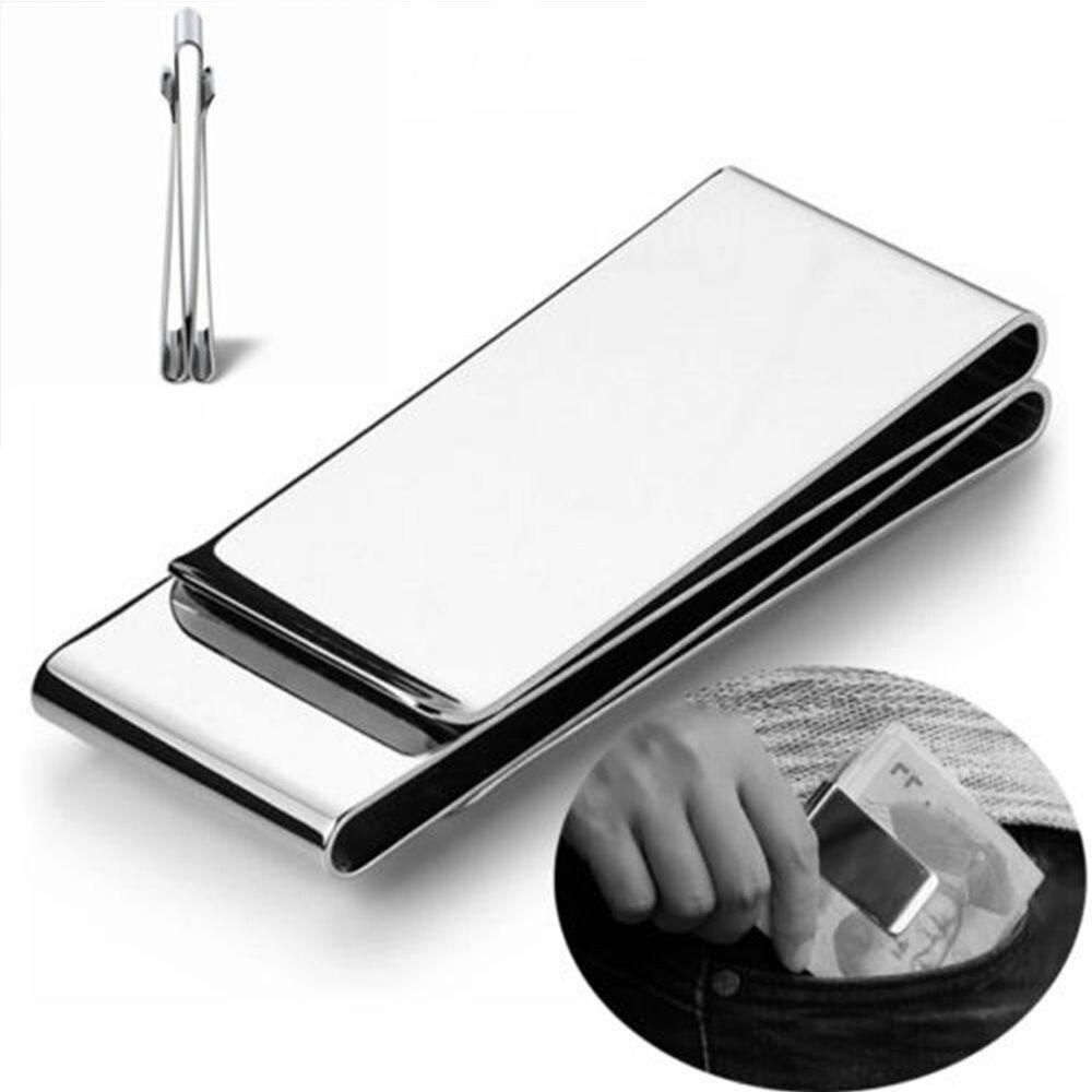 2 Layer Money Clip Stainless Steel Silver Metal Pocket Holder Wallet Credit Card Dollar Cash Clamp Unisex