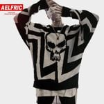 AELFRIC Men Skull Printed Hip Hop Sweater Streetwear High Quality Loose Oversized Sweaters Casual Pullover Clothing KA13