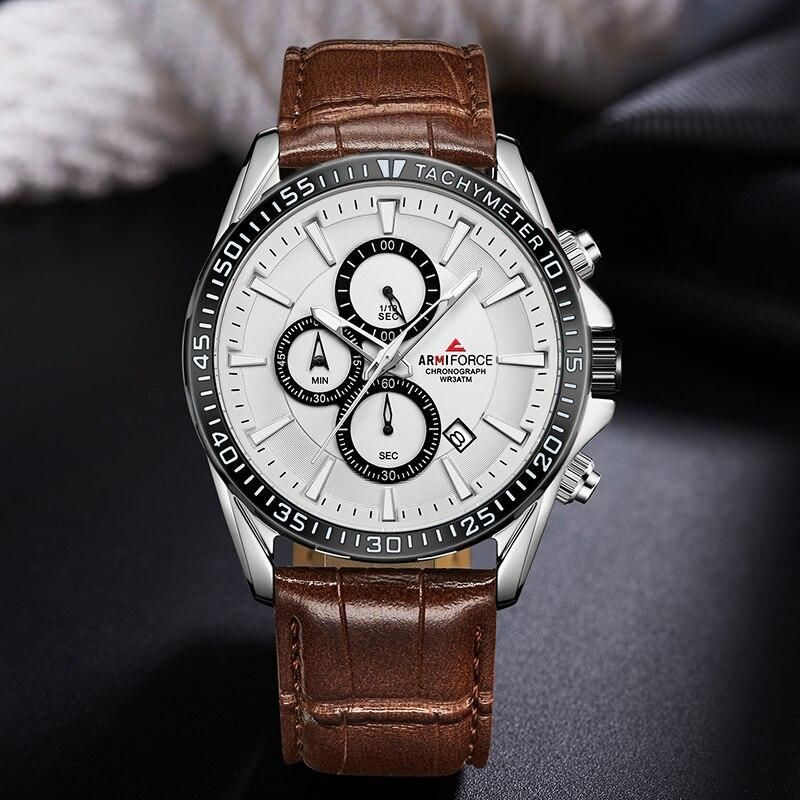 ARMIFORCE New Men Watches Top Brand Men's Fashion Chronograph Quartz Watch Male Genuine Leather Sport Clock Relogio Masculino