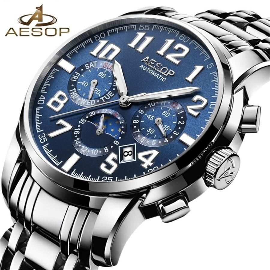 AESOP Automatic Mechanical Watches Men Top Brand Luxury Business Waterproof Stainless Steel Male Clock Relogio Masculino