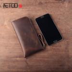 AETOO Handmade leather wallet genuine  retro simple long seven characters zipper purse wave wallet phone bag