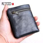 AETOO Mini purse men's handmade leather ultra-thin soft leather wallet first layer leather wallet short zipper buckle