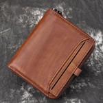 AETOO Wallet man short head layer cowhide money Clip Men's retro wallet vertical zipper casual Youth small wallet