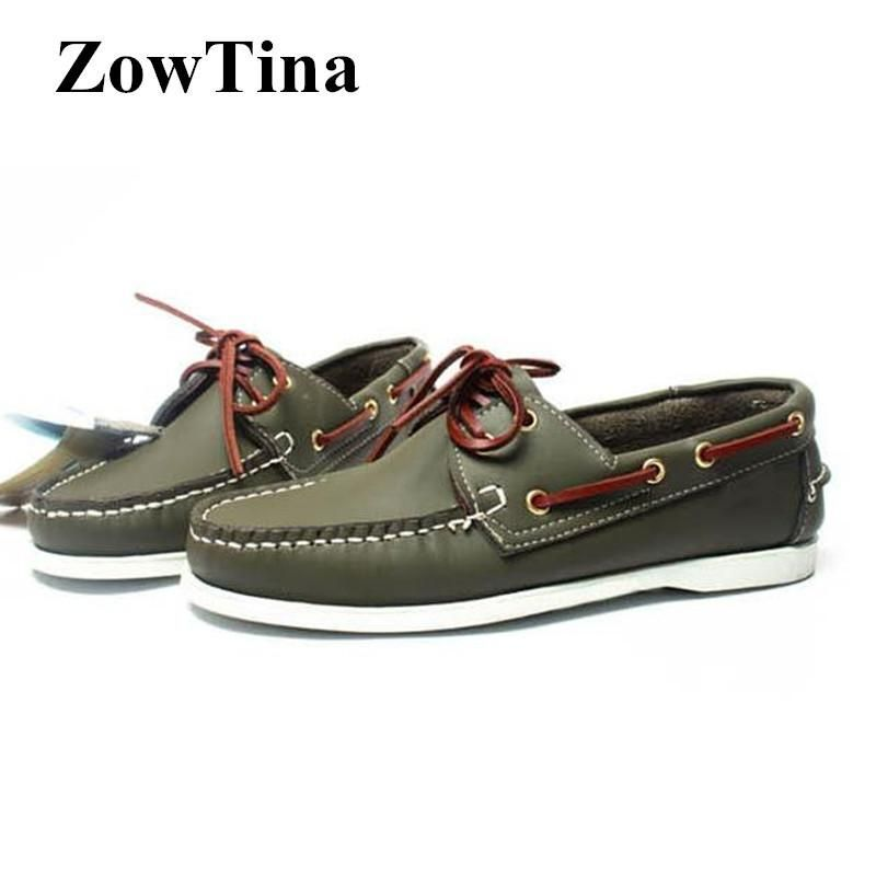 Army Green Men Leather Boat Shoes Lace Up Fashion Flat Creepers Large Size 46 Moccasins Shoes Man Footwear Zapatos Hombre Loafer