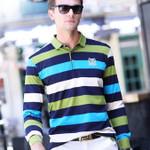 Autumn and winter men's Long sleeve T-shirt men's striped knit small lapel men's casual men's t shirts