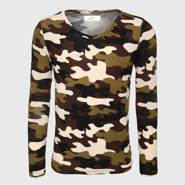Army Long Sleeve Camouflage T-Shirt Men Fitness Top Tees V Neck Print T Shirt Slim Fit Male Cool